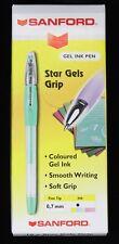 10 x Sanford Star Gels Grip Gel Pens Pastel Green FINE 0.7mm line New