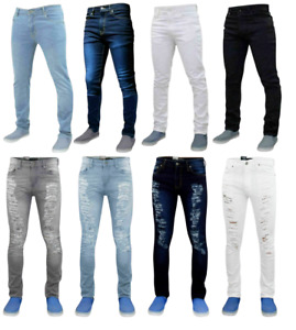 Mens Slim Fit Jeans Denim Branded Distressed Stretchy Pants New Ripped Trousers
