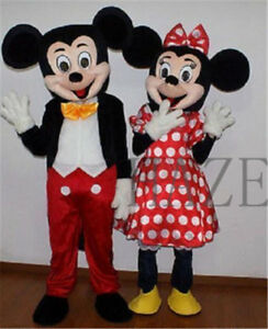 Adult Suit Size MICKEY MOUSE & MINNIE MOUSE Mascot Cosplay Costume