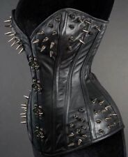 Corset Overbust Real Leather Real Steel Bones Gothic Spikes Style Lace Up Back
