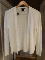 Ann Taylor petite Women's Open Front Draped Cream Cardigan Sweater size PL