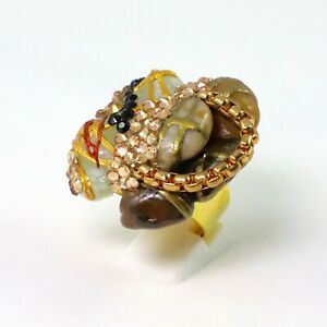 Marble Ring Adjustable Gold Plated Patricia Adelson EXCLUSIVE DESIGN