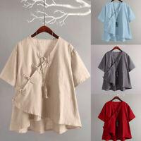 Women Fashion Cotton Linen Vintage V-neck Short Sleeve Loose T-Shirt Blouse Top