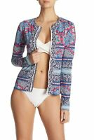 Tommy Bahama Womens Riviera Tiles Long-Sleeve Zip Front Rash Guard