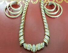 ⭐NEW 14K YELLOW GOLD STERLING SILVER 150 GENUINE DIAMOND NECKLACE EARRING SET
