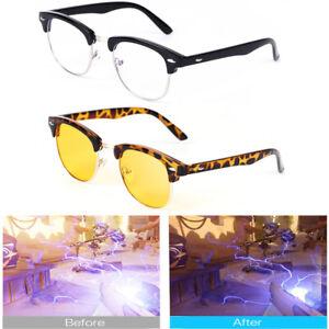 Computer Gaming Blue Light Blocking Glasses Eyewear Retro Half Frame Tortoise UK