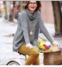 Cabi Fergie Striped Cowl Turtleneck Split Drape Sweater, #3167 Large L