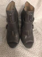 Antonio Melani Size 8M Gray Leather Peep Toe Bootie Heels Shooties