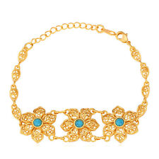 Flower Design Jewelry 18K Gold Plated Turquoise Chain Bracelet Gift for Girls