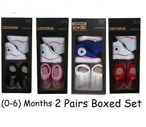 Infant Baby Girls Boys Converse Logo Soft Crib Bootie Gift Box Size 0-6 Month