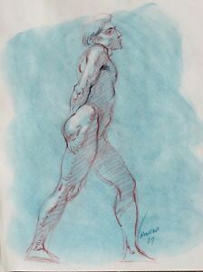Harry Carmean drawing of male model 1987 turquoise pastel