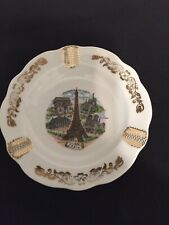 Limoges French Porcelain White Gold Eiffel Tower Other Paris Sites Dish Ashtray