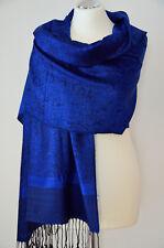 Pashmina Schal Stola Paisley gewebt 100% Viskose Royalblau schwarz ca.180x70cm