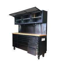 Black tinted stainless steel Mechanics Garage Storage Workbench Trolley Cabinet