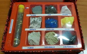 Volcanic Mineral and Crystal Specimen Souvenir Display set from Vesuvius Italy