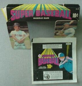 1971 TOPPS SUPER BASEBALL CARDS DISPLAY BOX, WRAPPER & 2 CARDS