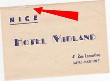 A) Original Vintage Luggage Label HOTEL MIDLAND NICE Kofferaufkleber EB 707