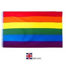 Large LGBT RAINBOW GAY PRIDE FLAG Festival Diversity Event Flag 5Ft x 3Ft NEW UK
