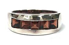 1.50 ctw Square Spessartite/Spessartine Garnet Channel Set Sterling Silver Ring