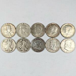 Lot of 10 Mixed US Silver Half Dollars 191306B