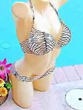Victoria's Secret TIGER Animal Gorgeous Bikini Swimsuit 36C+S Swim Add 2 Cups