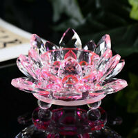 Hot Crystal Glass Lotus Flower Candle Tea Light Holder Buddhist Candlestick