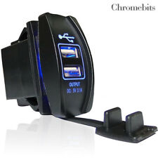 Fiat Doblo Fiorino Scudo Ducato Dual Usb Car Waterproof Charger Socket Blue Led