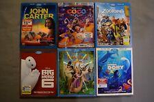 Disney Bluray Lot John Carter, Coco, Zootopia, Big Hero 6, Tangled, Finding Dory