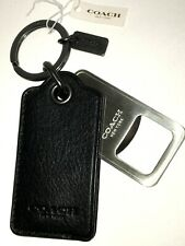 COACH BOTTLE OPENER Key Ring BLACK LEATHER CASE Bag Charm HANGTAG KEYFOB F64140