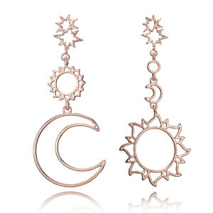 Sun Moon Statement Big Drop Earrings stud hook dangle open gift studs love UK