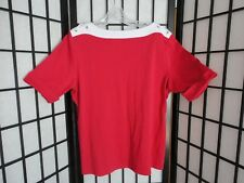 Allison Daley Nautical Style Womens Short Sleeve Shirt W/ Boat Neck Sz Large