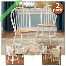2 Pc Farmhouse Dining Room Chairs Set of 2 Kitchen Wood Windsor Chair, White Oak