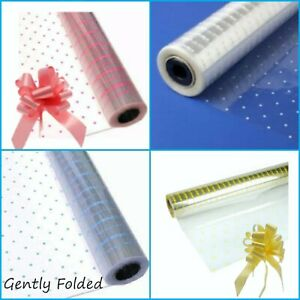 DOT CELLOPHANE GIFT WRAP BOW HAMPERS BASKETS FATHERS DAY Birthday flowers spray