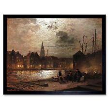 Painting Landscape Urban Maritime Douzette Port People 12X16 Inch Framed Print