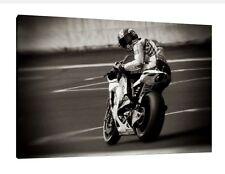 "Marco Simoncelli Large 30"" X 20"" Très rare MOTO GP HONDA encadrée Photo Toile"