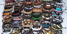 Lots of 10 pcs Mixed Style Surfer Cuff Ethnic Tribal Leather Bracelets Wholesale