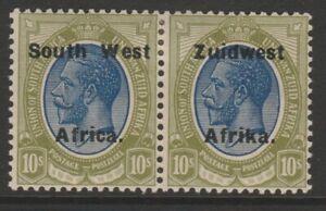 SWA MINT GV 1923 overprint pair 10/- blue & olive-green setting VI sg39