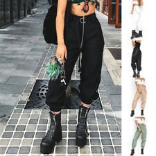 Women Fashion Harem Pants Jogger Chain Trousers High Waist Punk Solid Casual NEW