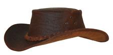 Kakadu Traders Australia Bulldog Leather Hat, shapeable Brim | Clearance