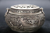 Exquisite china hand carving Miao Silver Incense burner qianlong mark