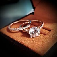 Real 1.45 Ct Round Cut Diamond Engagement Ring Set Thin Pave F,VS1 GIA 14K Gold