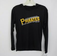 Pittsburgh Pirates Majestic Long Sleeve Polyester Black Shirt Youth Medium