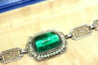 ATQ WELLS ART DECO STERLING CZECH POURED GLASS SUGARLOAF FILIGREE BRACELET FBR