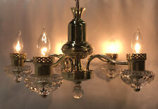 RESTORED Antique Vtg 30s 40s Art Deco Chandelier Brass Glass Hanging Light 5 Arm