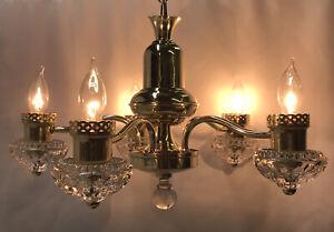 RESTORED Antique Vtg 30s 40s Art Deco Chandelier Brass Glass Hanging Light 5 Arm