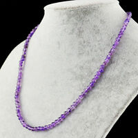 69.00 Cts Natural Single Strand Purple Amethyst Untreated Round Beads Necklace