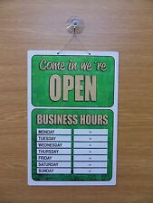 Red & Green Open / Closed Sign with hours  300mm x 200mm