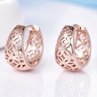 Chinese Acient Coin Basket Huggie Rose Gold Filled Women Lady Hoop Earrings BOX