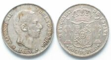 SPANISH PHILIPPINES 50 Centimos 1885 ALFONSO XII silver AU!!! # 19618