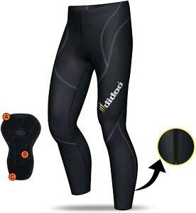 Didoo Mens Thermal Cycling Tights Padded Long Pants Zipper Bike Leggings Wear